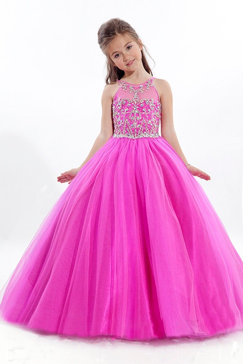 Sheer Neck O Neck Tulle Fuchsia Ball Gown Girls Pageant Dress ...