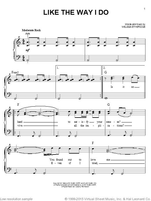 Etheridge Like The Way I Do Sheet Music For Piano Solo Chords