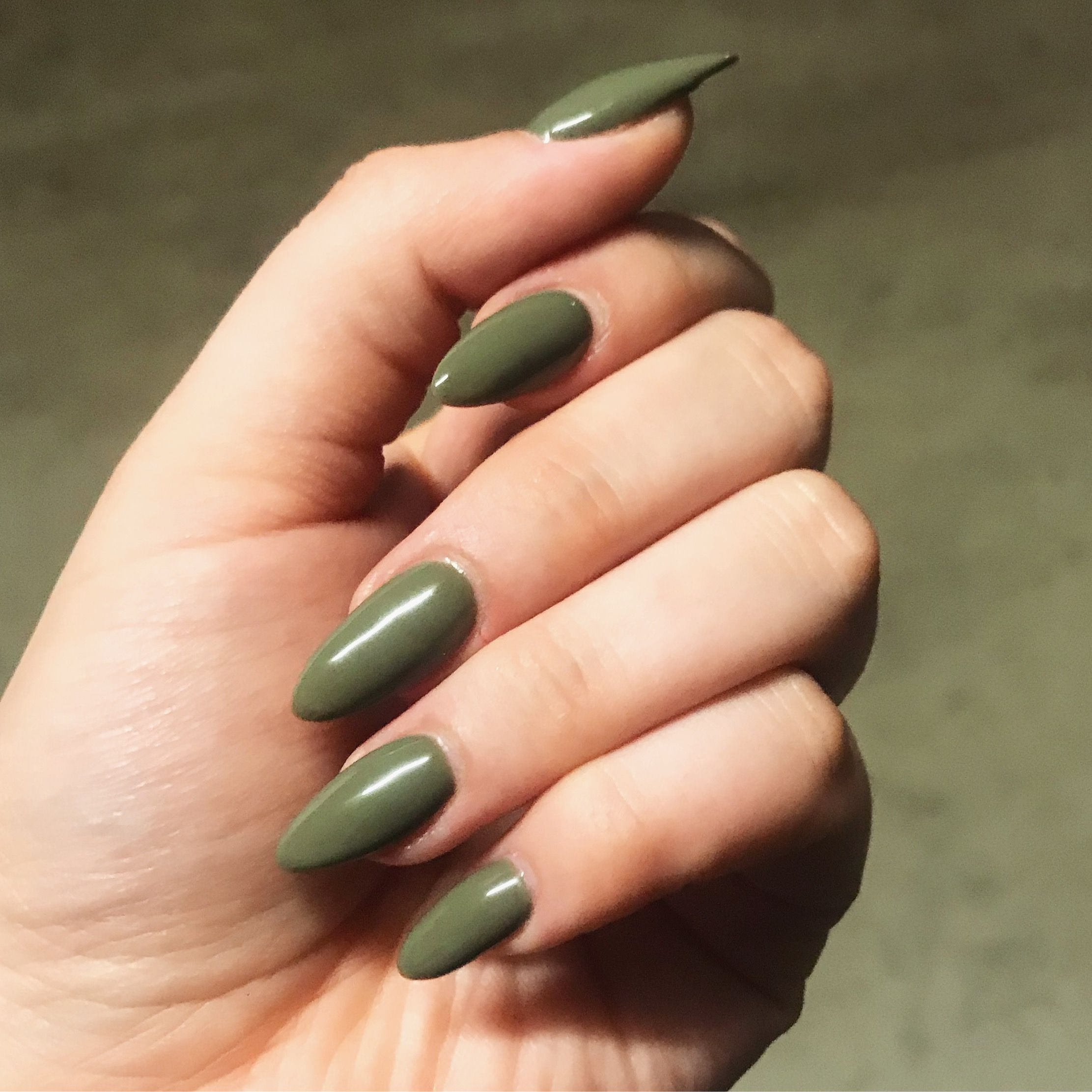 Olive Green Almond Shaped Acrylic Nails Green Acrylic Nails Olive Nails Acrylic Nail Shapes