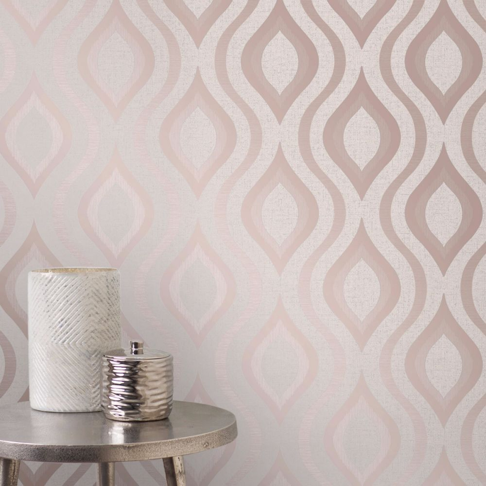This Stylish Quartz Geometric Wallpaper Brings A Modern Twist To A Retro Inspired Geometric Wallpaper Rose Gold Pink And Grey Wallpaper Pink Wallpaper Bedroom