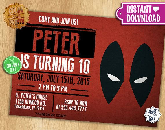 Free Printable Kids Birthday Invitations ~ Deadpool birthday invitations ideas birthday invitation