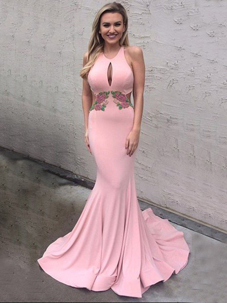 Open Back Prom Dresses Trumpet Halter Sexy Prom Dress/Evening Dress ...
