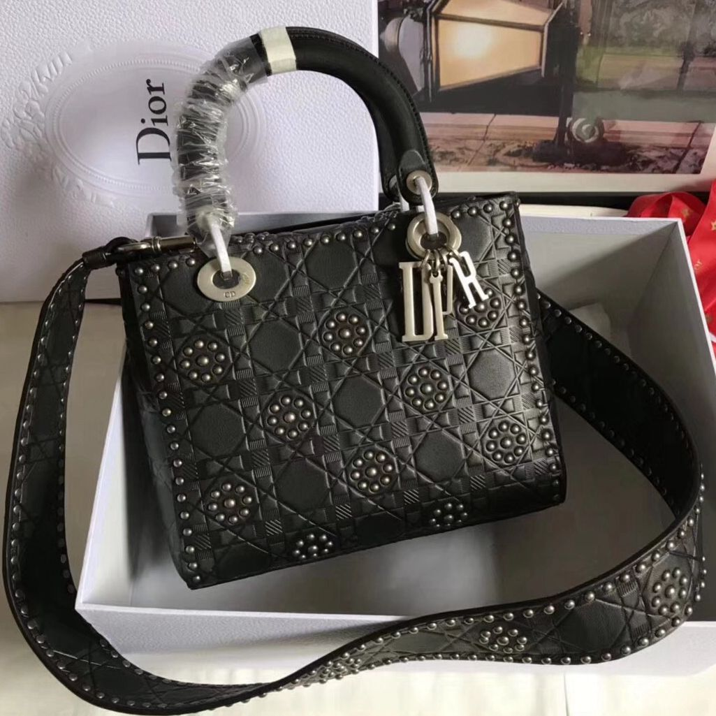 Dior Medium Lady Dior Supple Bag in Studded Calfskin Black 2017 ... 5072ed9468243