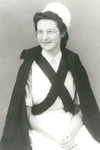 Dame Cicely Saunders in her nursing outfit. Dame Cicely is recognised as the founder of the modern hospice movement.