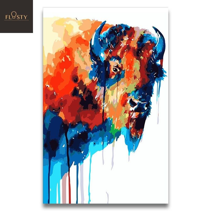Paint By Numbers Colorful Cow 1 Diy Painting Paint By