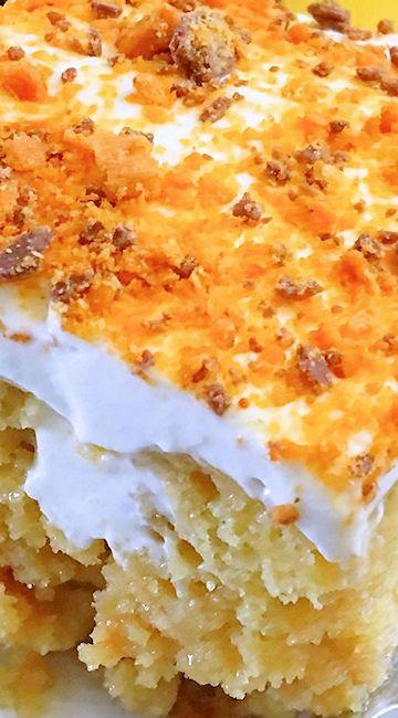 Butterfinger Extasy Cake (Poke Cake)