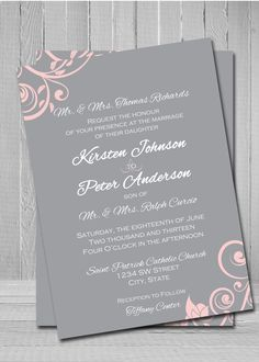 Charming Wedding Invitations Pink And Grey   Google Search Design Inspirations