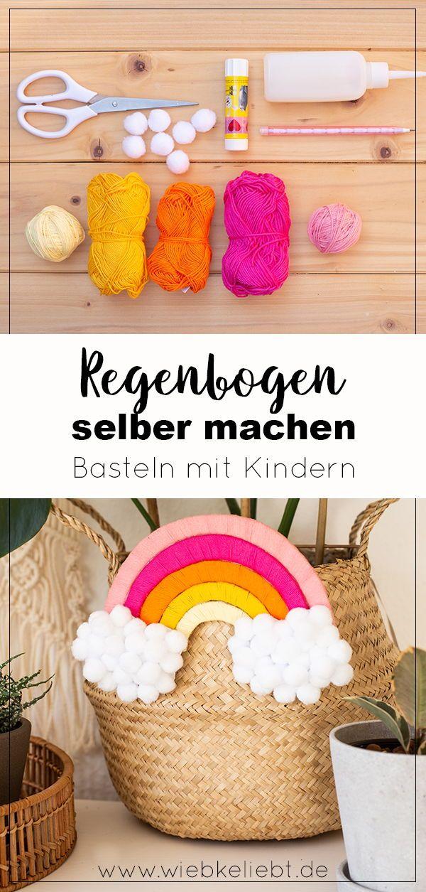 Basteln mit Kindern - DIY Regenbogen aus Pappe und Wolle | DIY Blog | Do-it-yourself Anleitungen zum