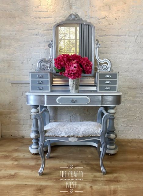 Duchess Victorian Dressing Table Painted French Grey, Chalk Grey And Silver  Complete With Vintage Stool, Silver Painted Furniture, French Grey Painted  ...