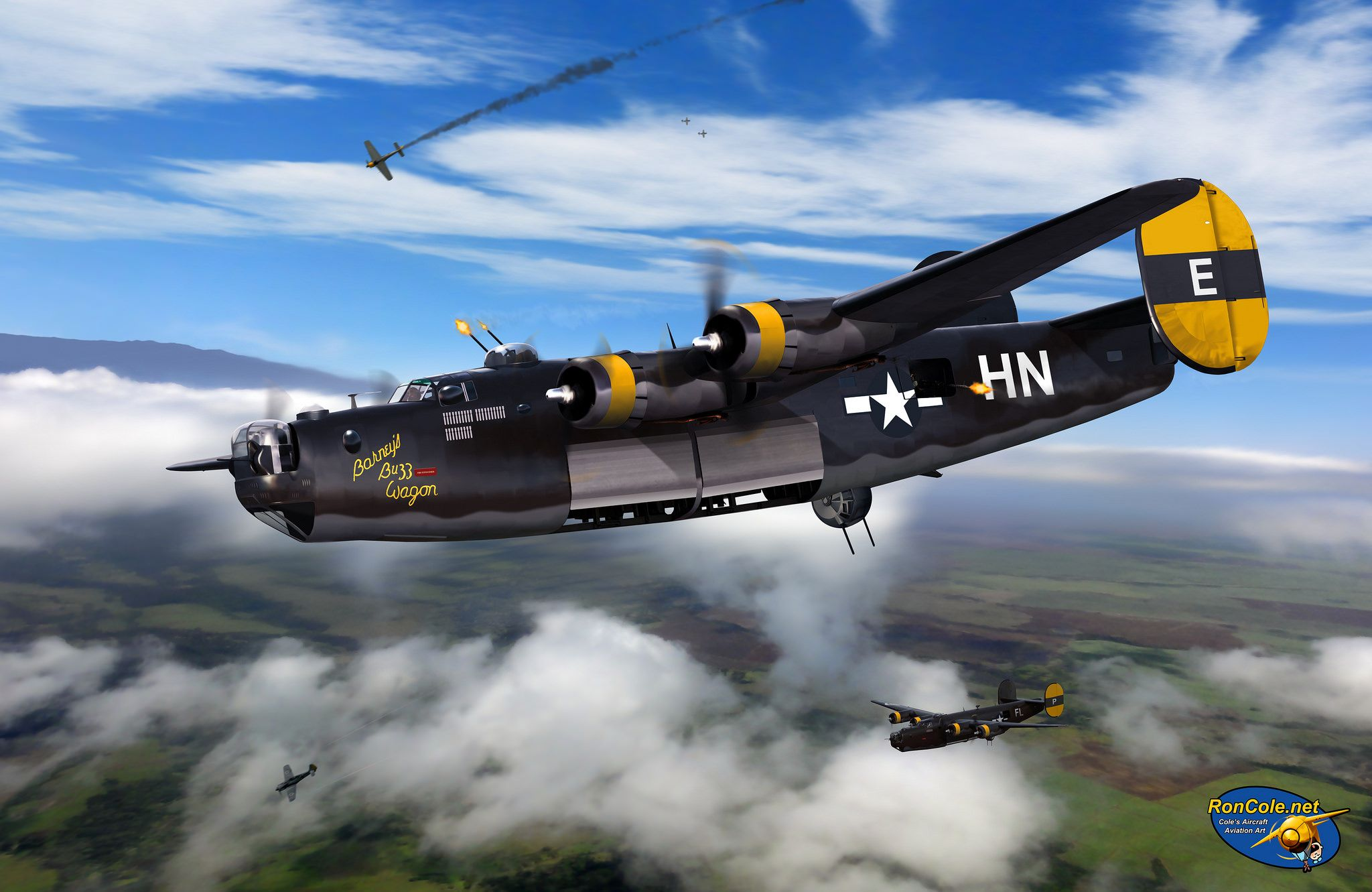 B 24h Liberator Barney S Buzz Wagon Of The 446th Bg Painting By Ron Cole Wwii Fighter Planes Wwii Aircraft Airplane Fighter