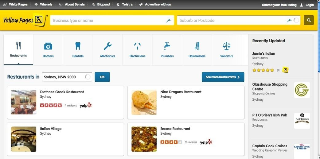 Pricing of Yellow Pages Database (Australia, USA, Canada, UK