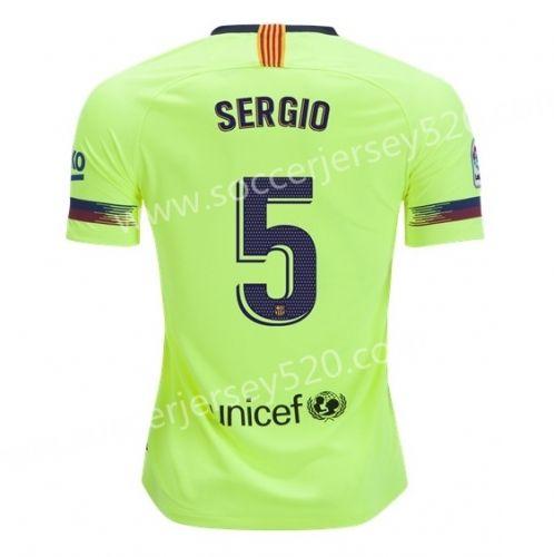 34364f0153a 2018-19 Barcelona Away Fluorescent Green  5 (SERGIO) Thailand Soccer Jersey  AAA