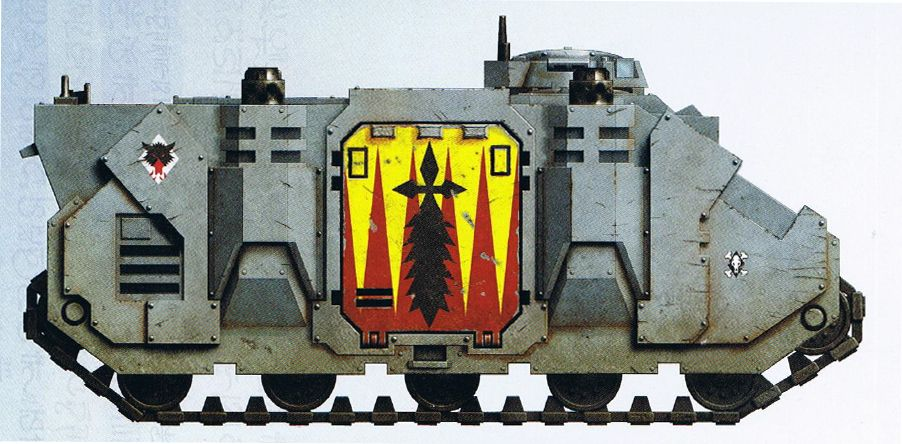 Redmaw Great Company Rhino personnel carrier. Note Blood Claws Pack Markings