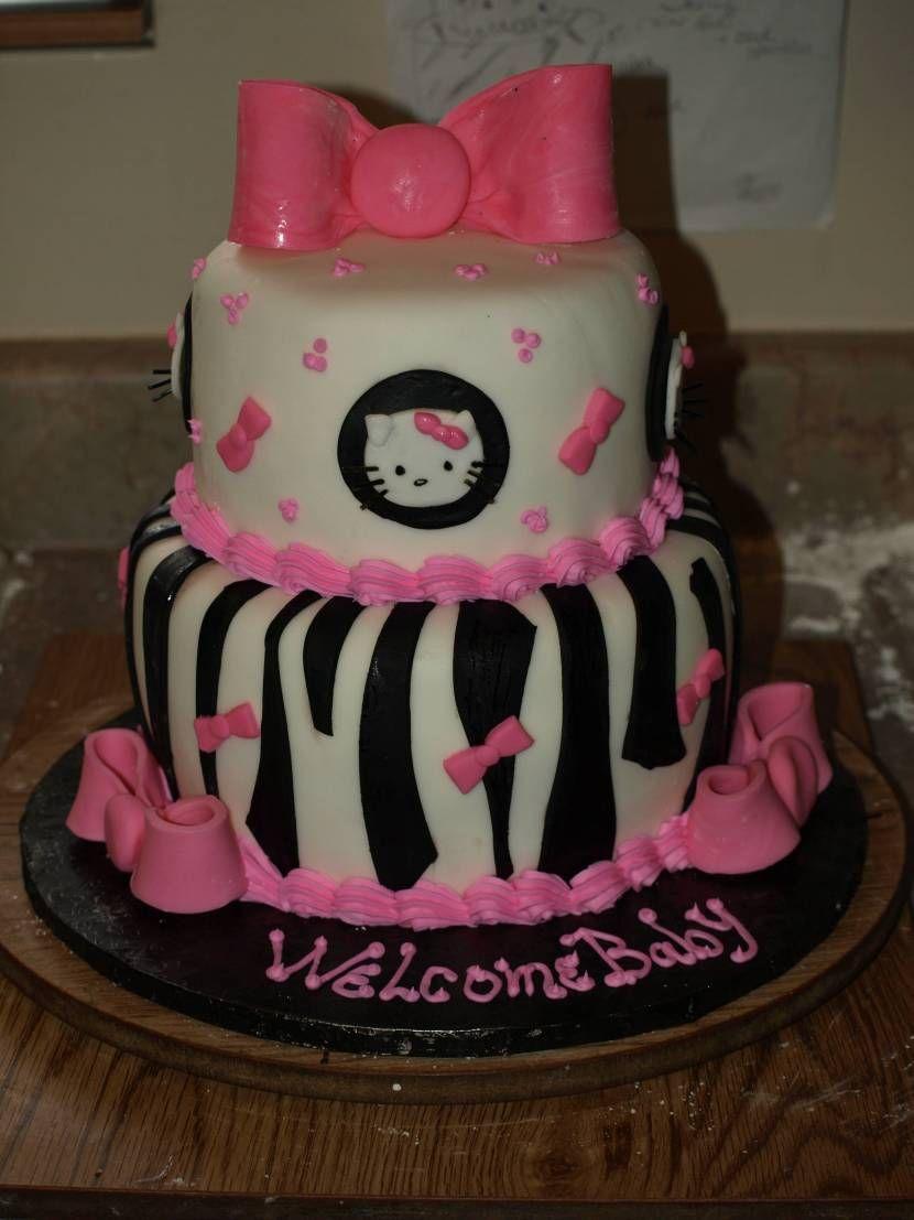 Lovely Hello Kitty Baby Shower Cake Part - 4: 35 Yummy Baby Shower Cakes For Girls · Hello Kitty ...