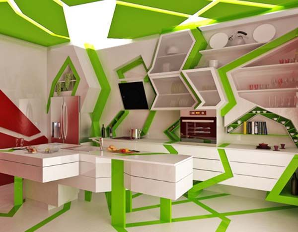 Orange And Green Painted Kitchens modern kitchen designgemelli design, orange and green colors