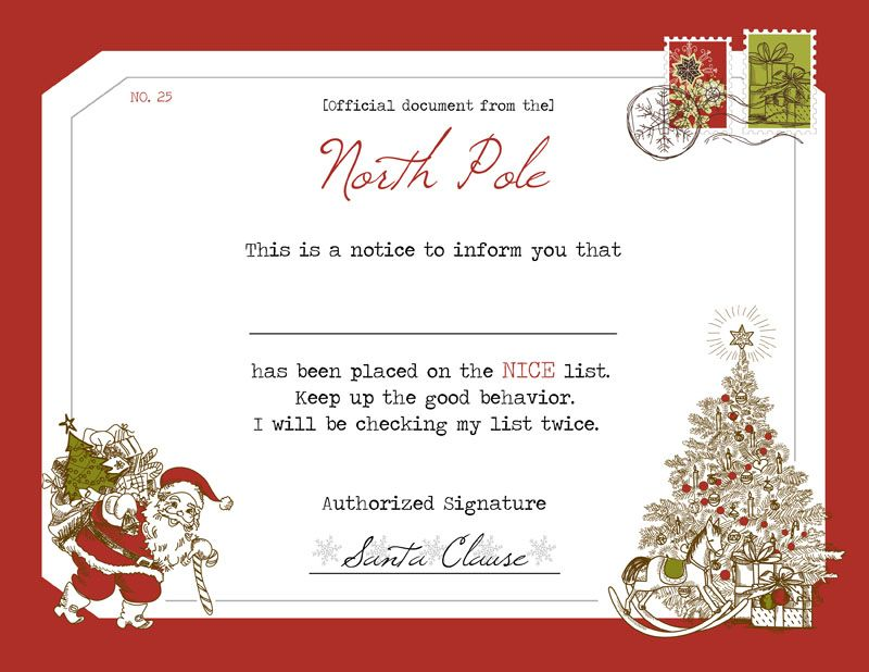 Official santas nice list certificate download print and give official santas nice list certificate download print and give to your children yelopaper Images