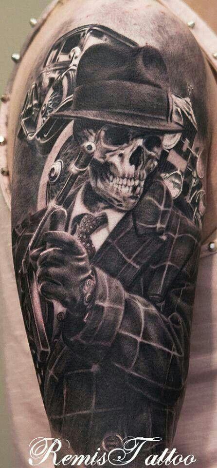 Sick Mafia Skeleton Love This Possibly A Calf Piece Tattoos