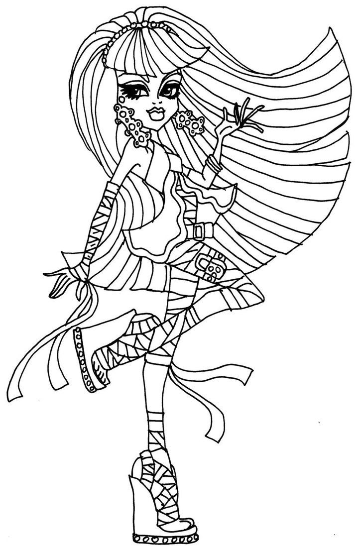 monster high coloring pages | monster high cleo de nile coloring ... - Monster High Dolls Coloring Pages