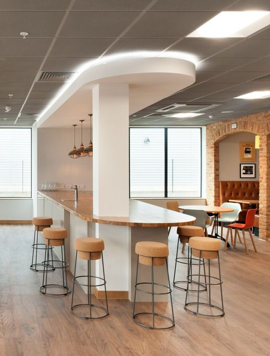 inside costa s office fit out kitchens with central support rh pinterest es
