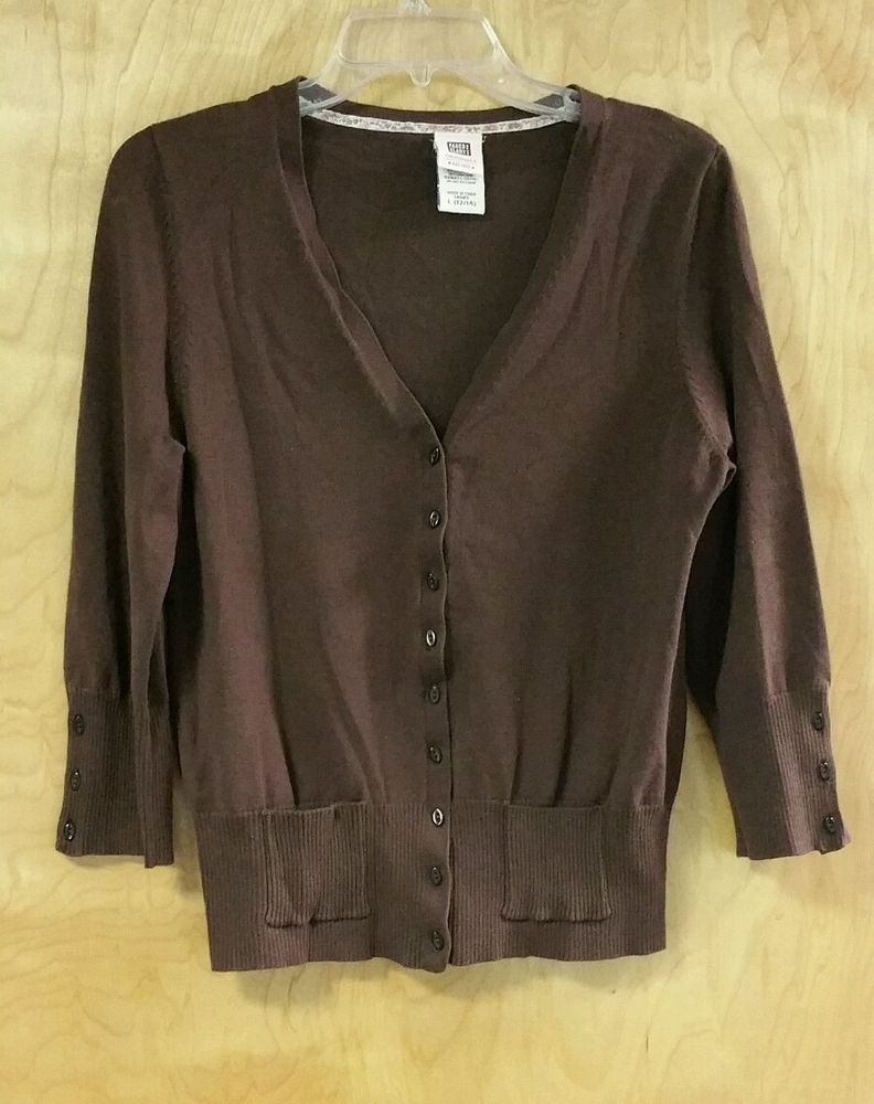 FADED GLORY Women's Brown Cardigan Sweater Size L Cute Button ...
