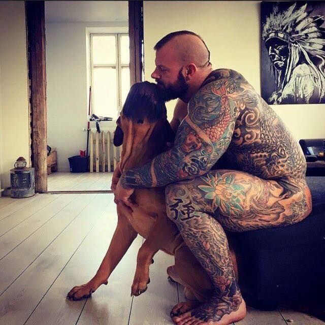 Pin by vkc2r on must love dogs because gays love dogs for Naked men tattoo