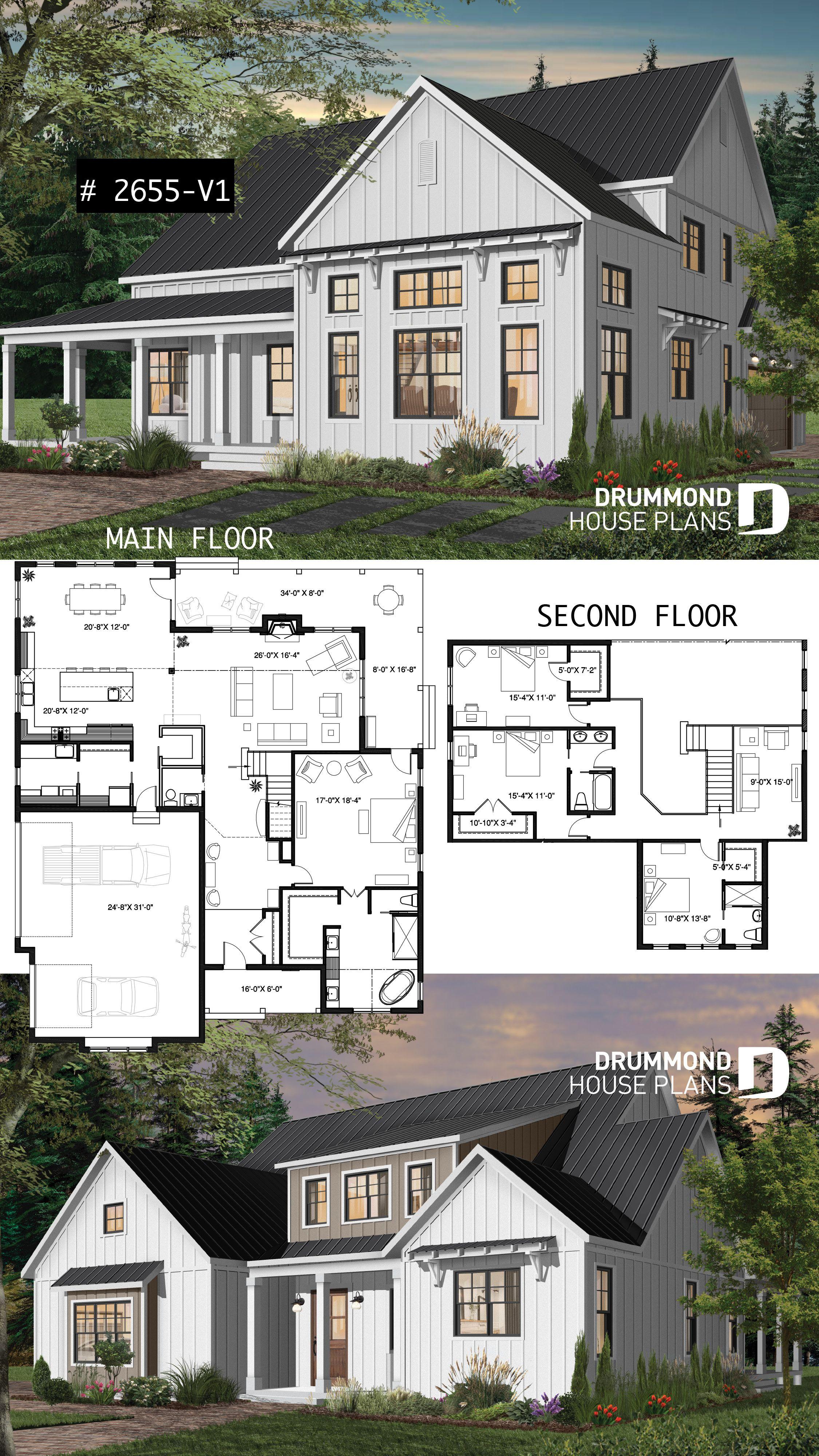 White Modern Farmhouse Plan 4 Bedrooms Master Suite 3 Car Garage Fireplace Large K Plans Floorplan Small