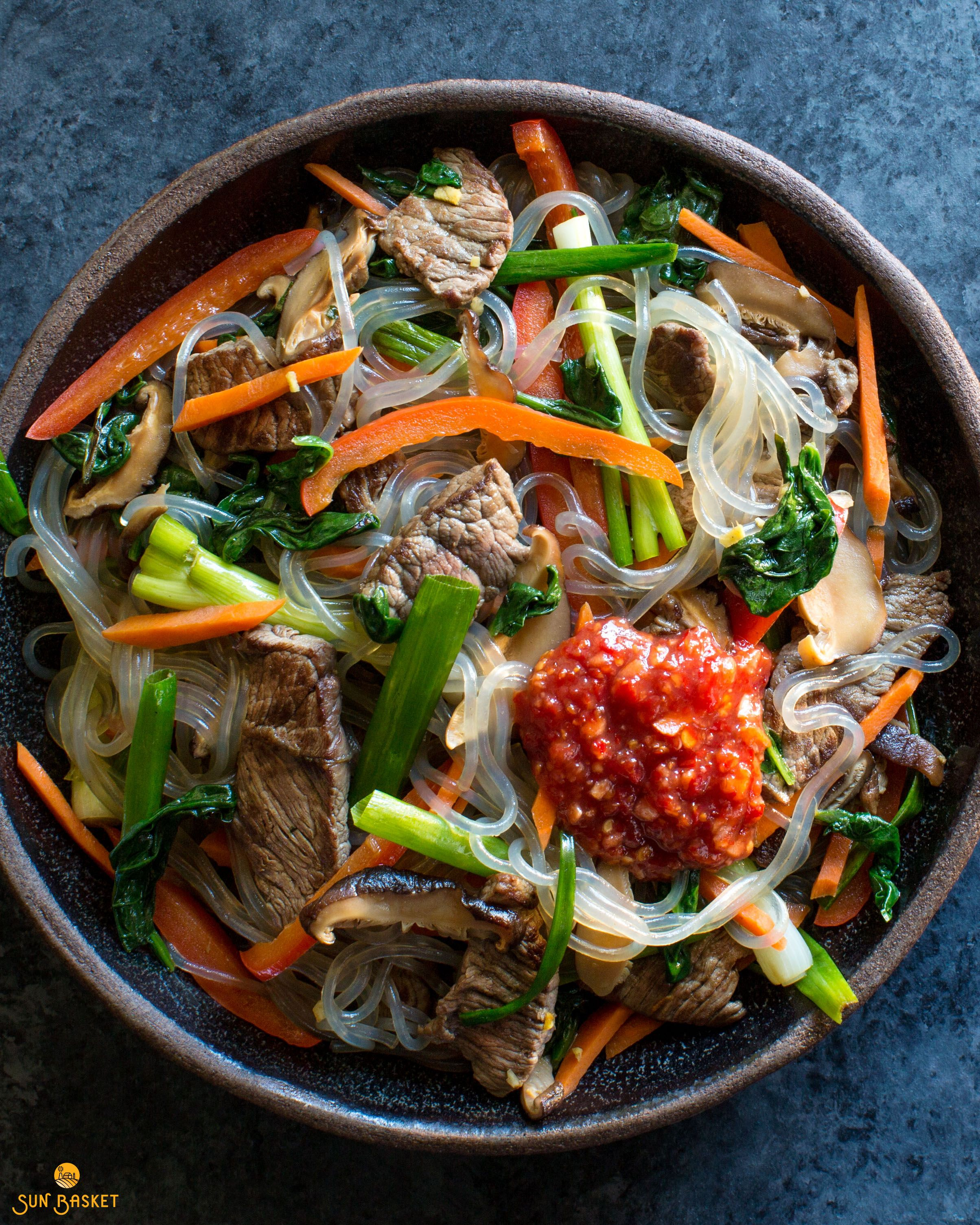Korean Steak Japchae With Glass Noodles And Stir Fried Vegetables Recipe Fried Vegetables Japchae Glass Noodles
