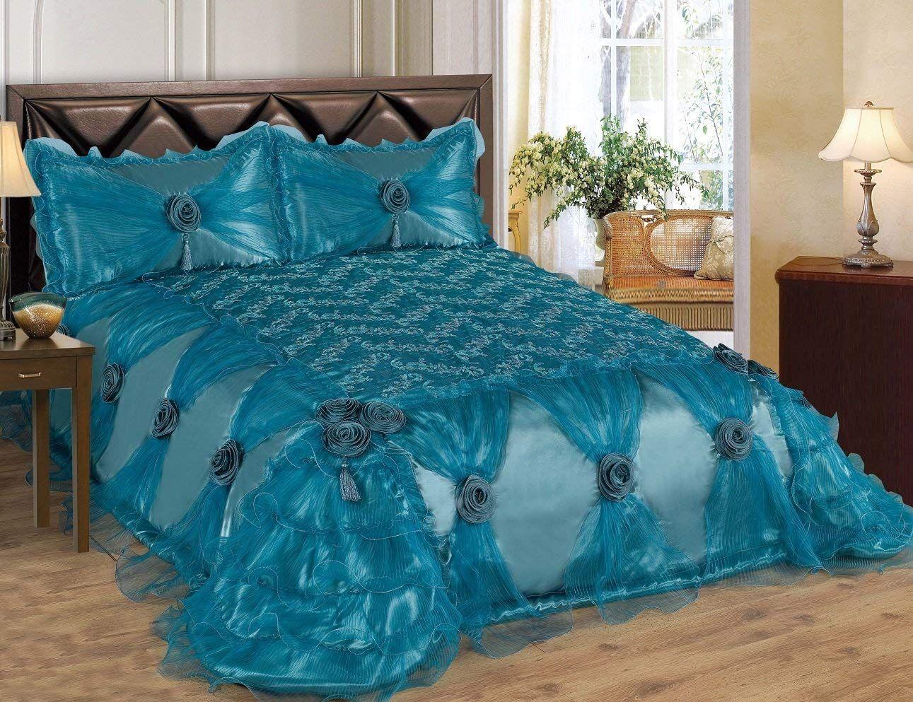 3 Piece Real 3D Comforter Set Bedspread Flower