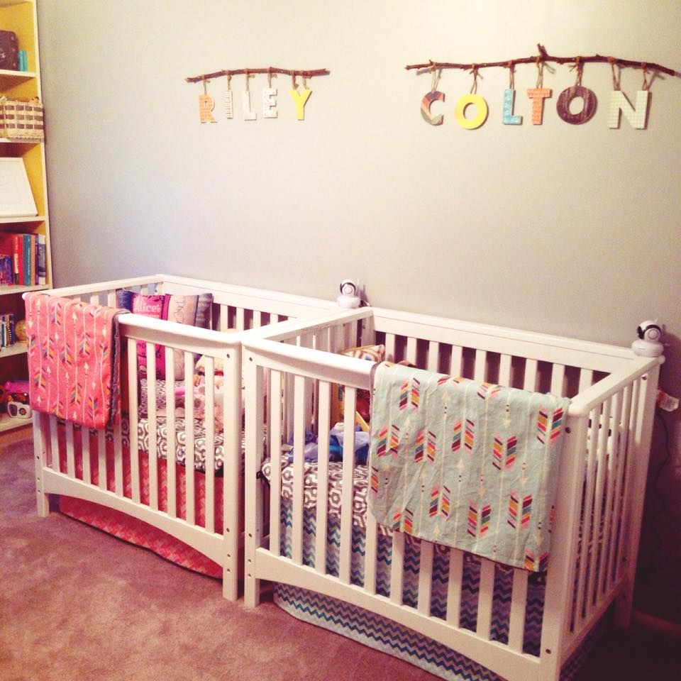 Baby bed twins - Boy Girl Twin Nursery This Side By Side Crib Set Up Is