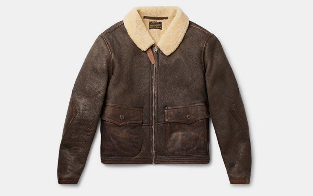 Ralph Lauren RRL Slim Fit Shearling Leather Jacket $2,900