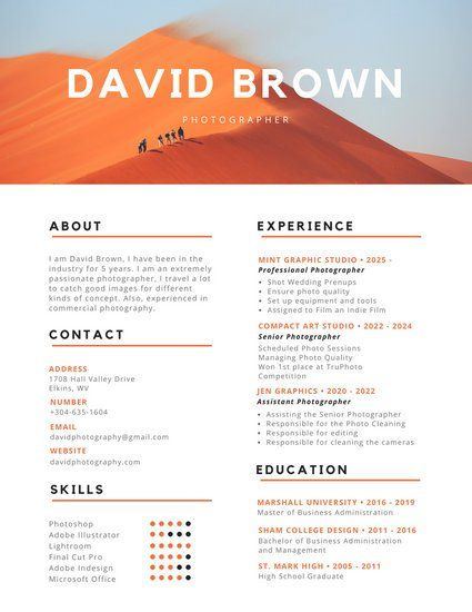 Orange And Black Colorful Photography Resume  Resume Design