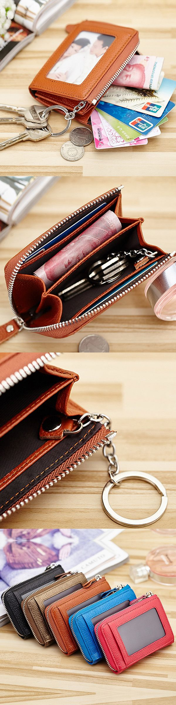 Genuine Leather Portable Retro Key Bag Coins Bags Card