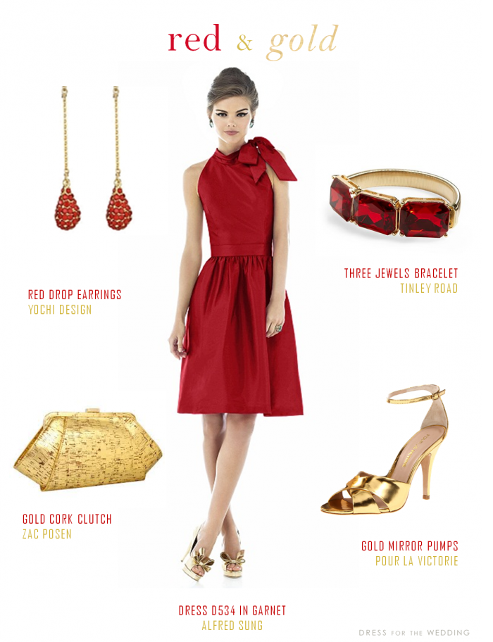60578cacea Red Bridesmaids Dress and Gold Accessories | Red Wedding Ideas | Red ...
