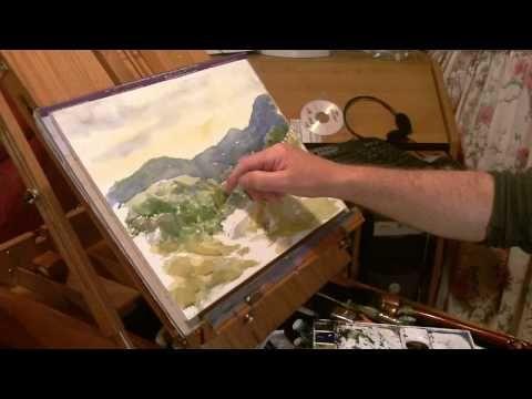 Watercolor Landscape Tutorial Lesson, rough brush method.