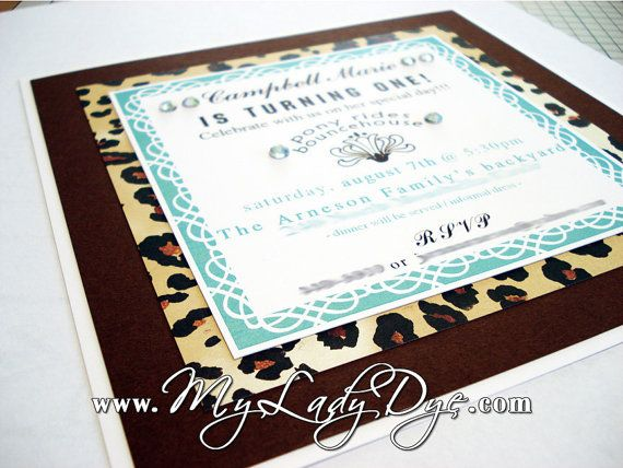 Leopard Birthday Party Invitation Safari Baby Shower Invitation - Tiffany Blue And Chocolate Brown - By My Lady Dye