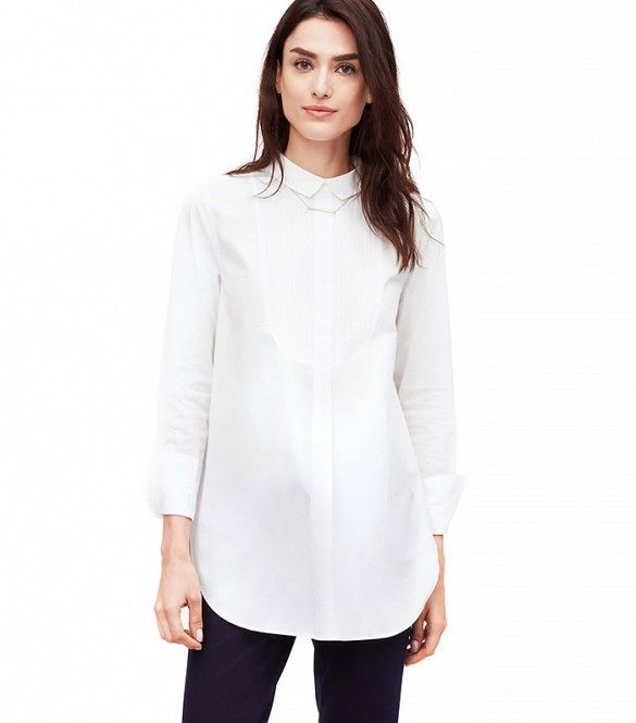 Loft Button-Back Tuxedo Softened Shirt // #Shopping