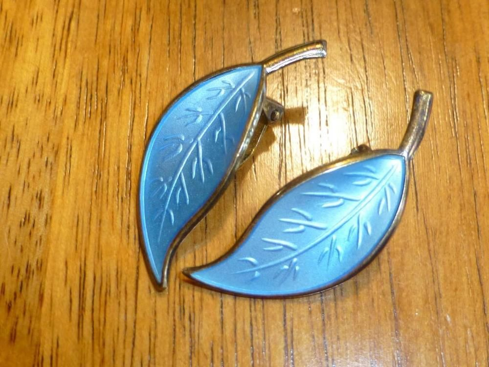 Vintage David Andersen Sterling Blue Enamel Leaf Earrings Clip Earrings Norway