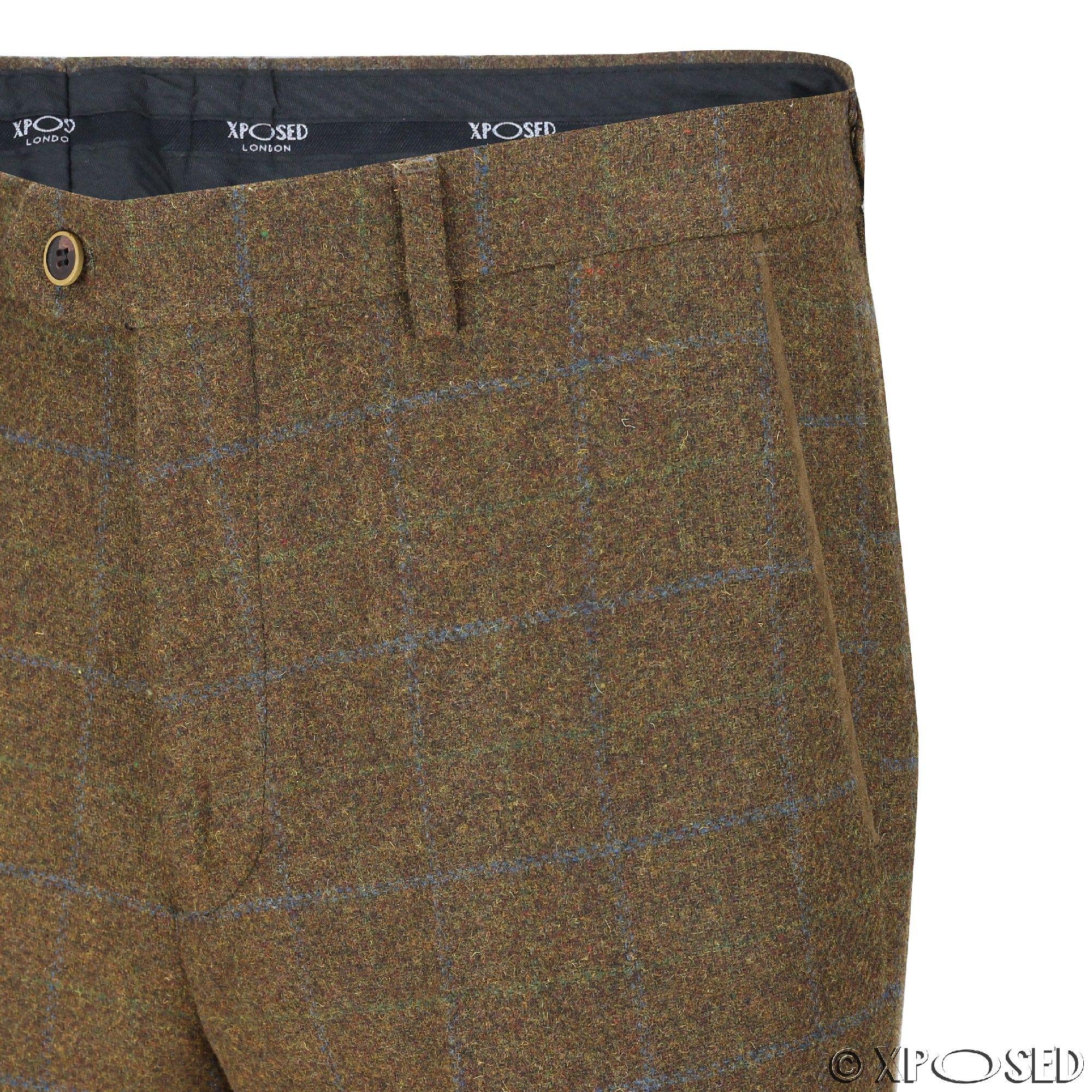 Mens Tweed Trousers Vintage Herringbone Checks Slim Fit Grey Brown Green Pants