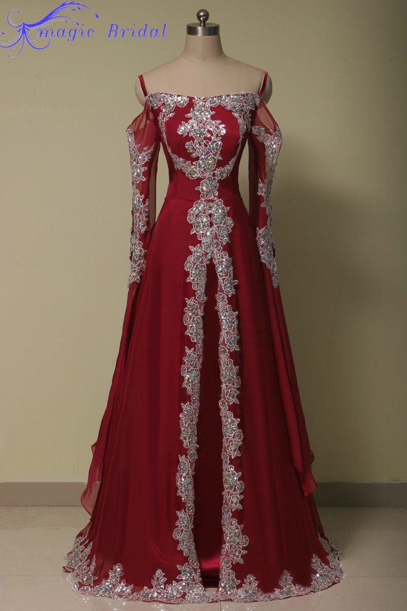 dec1734026f4a Vestido De Festa Longo Com Renda Long Sleeve Red Lace Evening Dress Arabic  Muslim Evening Dress