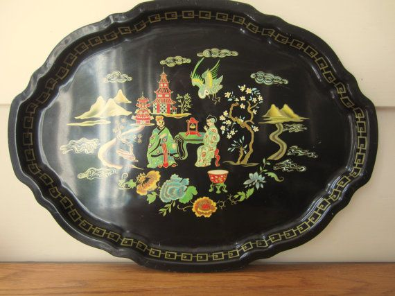 Chinoiserie style large black metal tray.  by ModelVintage on Etsy