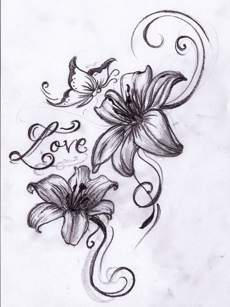 Tigger tattoo designs - Butterfly With Flower Tattoo Designs Tribal Flower And Butterfly Tattoo Design Photo Butterfly With Flower