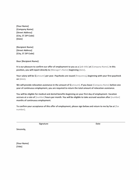 Job offer letter with relocation assistance - Templates | Success ...