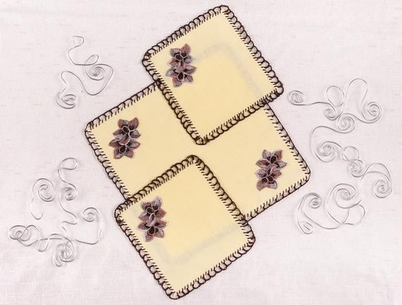 Set of 7 Square Cloth Napkins - READY TO SHIP!! - The Perfect Gift - Handmade - Yellow Napkins - Flo #clothnapkins