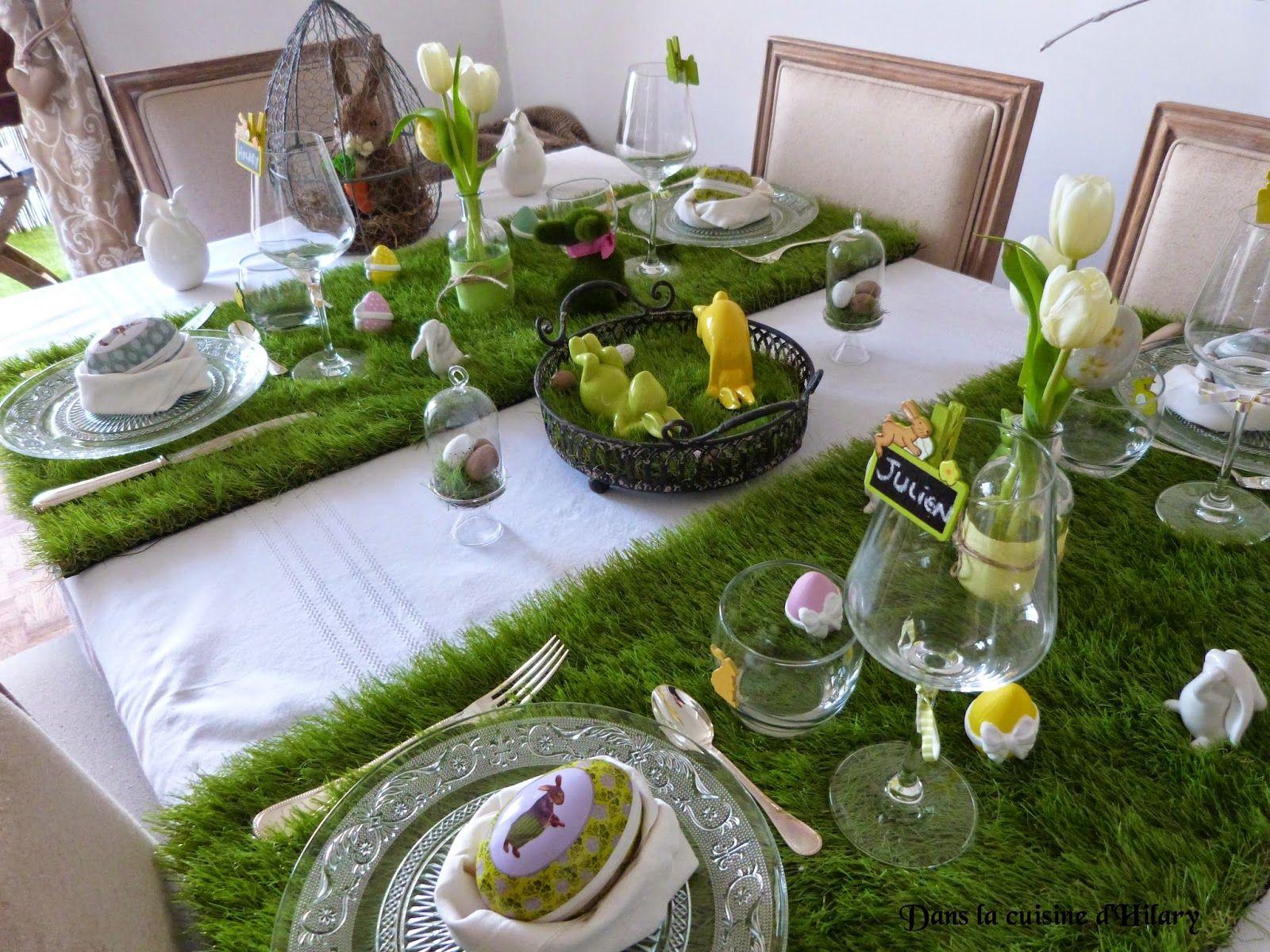"""Dans la cuisine d'Hilary: Table de pâques """"Les lapins apportent les œufs dans le jardin"""" / Easter table """"Rabbits and eggs in the garden"""""""