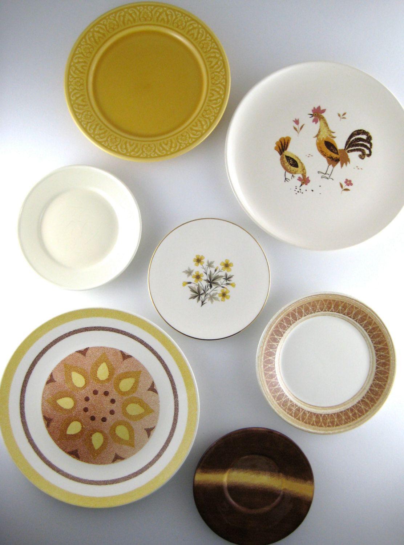 Decorative Plates Vintage Plates Mismatched Plates Kitchen Wall ...