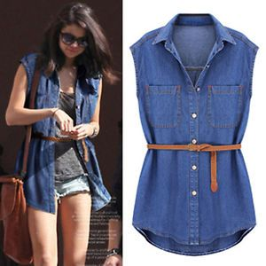 fashionable casual womens sleeveless denim shirt with