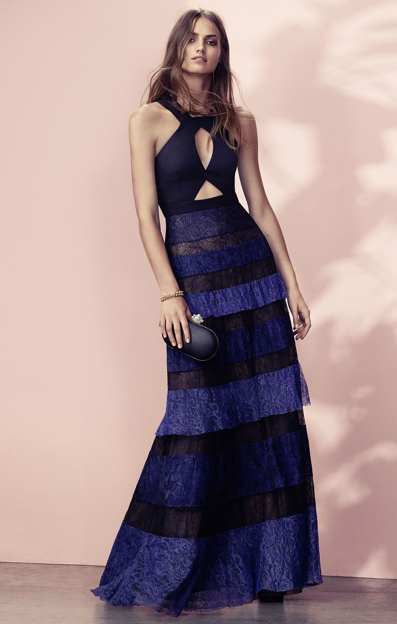 Danique Lace-Blocked Ruffle Gown #vestido frente unica #halter neck ...