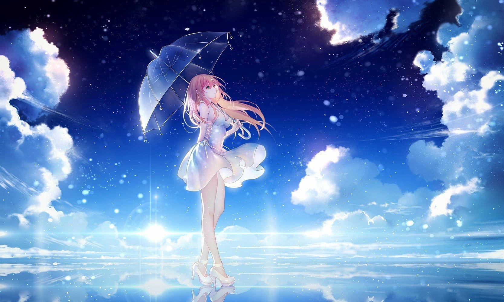 Female Anime Character In White Dress Digital Wallpaper Anime Anime Girls Legs Long Hair Sky Clouds Anime Wallpaper Download Anime Scenery Wallpaper Anime