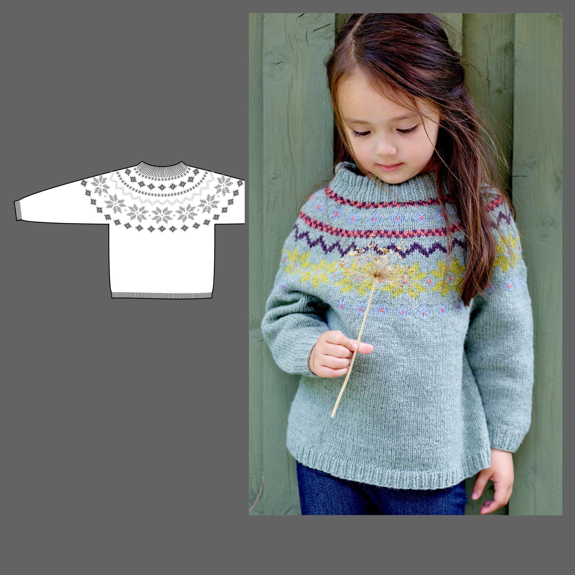 95243 Stickad tröja med ok till barn från Stoff & Stil