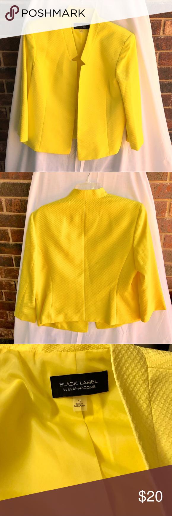 a01f878691 Evan Picone Black Label Lemon Yellow Blazer Wm 12 This is a Sunny Lemon  Yellow Jacket